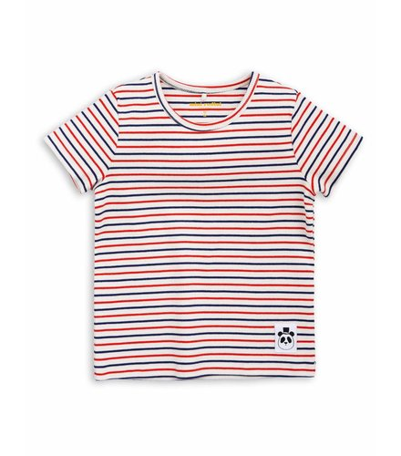 Mini Rodini Stripe rib ss tee Off white