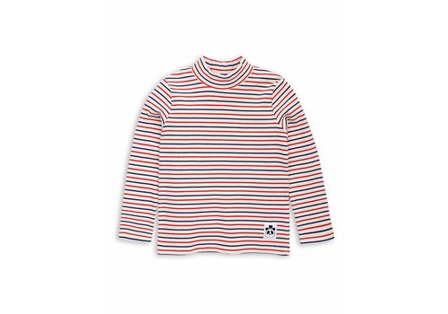 Mini Rodini Stripe rib ls turtle neck Off white