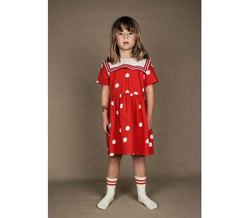 Dot woven sailor dress Red