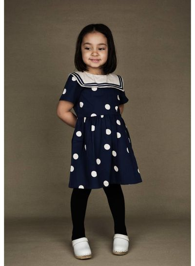 Mini Rodini Dot woven sailor dress Navy