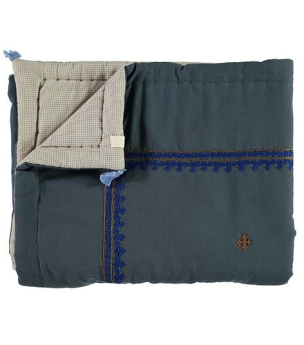 Camomile London Hand Woven/Hand Embroidered Quilts Limited Edition Embroidery Royal Blue/Coco  Dark Teal/Blue Check