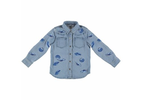 Stella McCartney Kids Jules Girl Shirt Denim Shells Embro