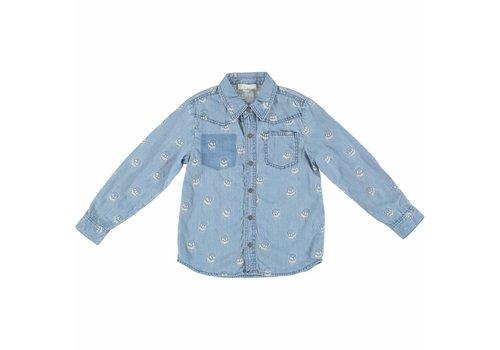 Stella McCartney Kids Melvil Boy Shirt Denim Embro Skulls