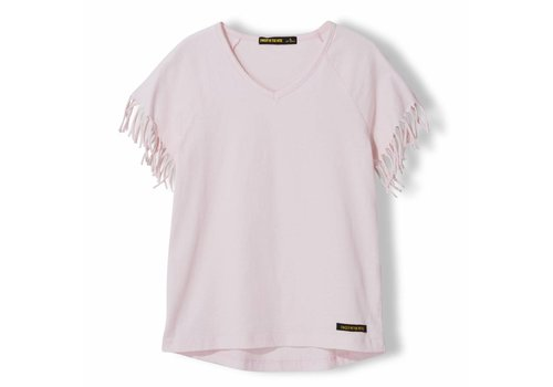 Finger in the nose Gorgeous Vegas Pink - Girl Knitted Fringed Sleeve T-Shirt