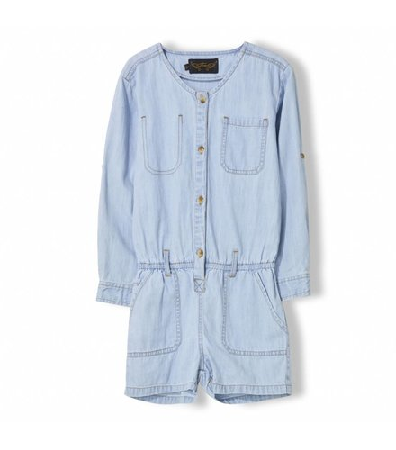 Finger in the nose Roslyn Bleached Blue - Girl Woven Short Overalls