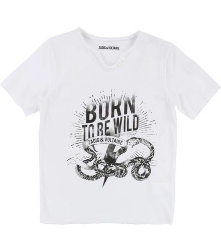 Zadig et Voltaire Kids T-shirt col tunisien, blanc