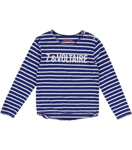 Zadig et Voltaire Kids T-Shirt Manches, bleu, blanc
