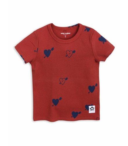 Mini Rodini Heart Rib Ss Tee Red