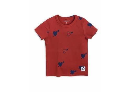Mini Rodini Heart Rib Ss Tee Red