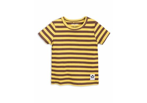 Mini Rodini Stripe Rib Ss Tee Yellow