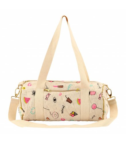 Soft Gallery Quilted Bag Small Cream Melange, AOP Fun
