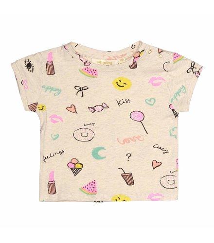Soft Gallery Nelly T-shirt Cream Melange, AOP Fun