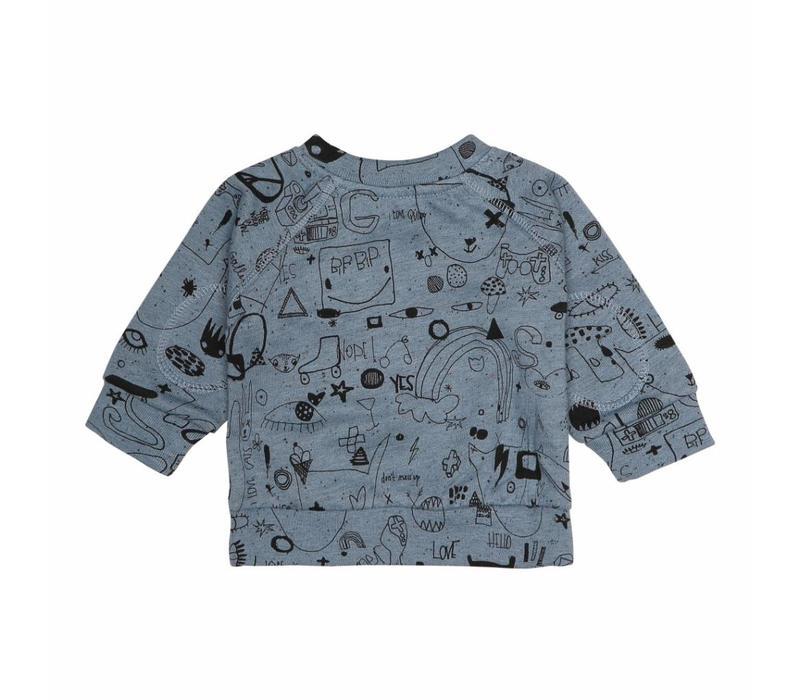 Alexi Sweatshirt Citadel Black Neppy, AOP Quirky Big