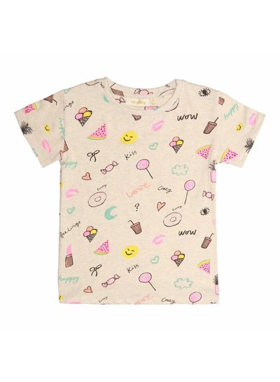 Soft Gallery Bass T-shirt Cream Melange, AOP Fun