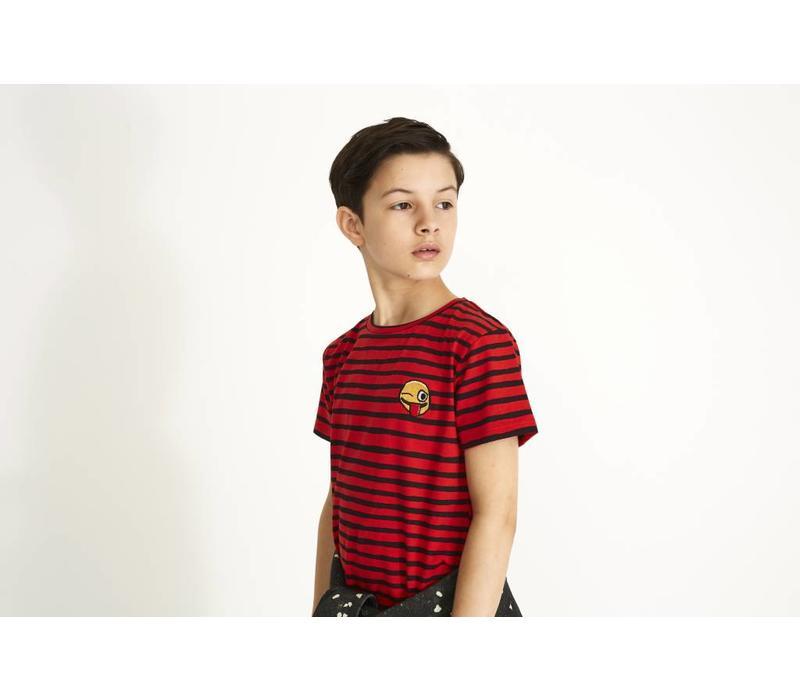 Bass T-shirt Flame Scarlet, AOP Ribbon Big, Smiley Emb.