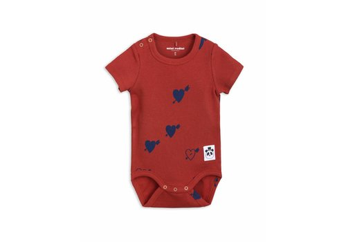 Mini Rodini Heart Rib Ss Body Red
