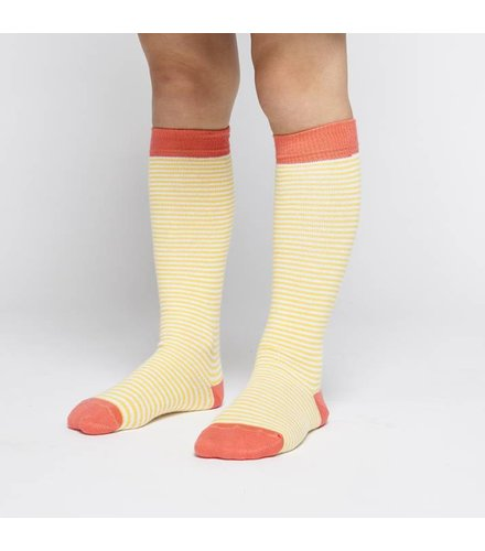 MINGO Knee Socks Striped Marigold/ Deep Sea Coral