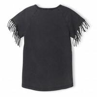 Gorgeous Vintage Black - Girl Knitted Fringed Sleeve T-Shirt