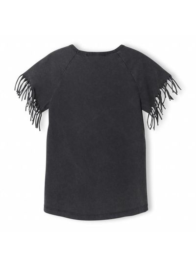 Finger in the nose Gorgeous Vintage Black - Girl Knitted Fringed Sleeve T-Shirt