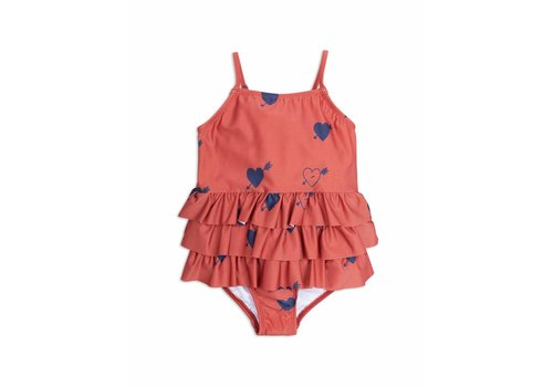 Mini Rodini Heart Frill Swimsuit Red
