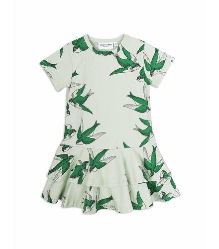 Mini Rodini Swallows Frill Dress Green