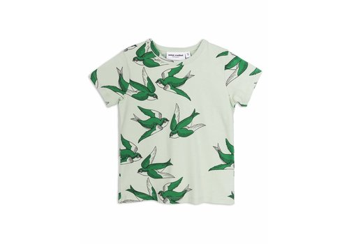 Mini Rodini Swallows Ss Tee Green