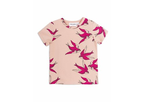 Mini Rodini Swallows Ss Tee Pink