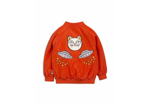 Mini Rodini Space cat baseball jacket red