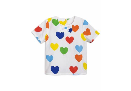 Mini Rodini Rainbow love woven blouse white