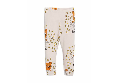 Mini Rodini Cat advice leggings beige
