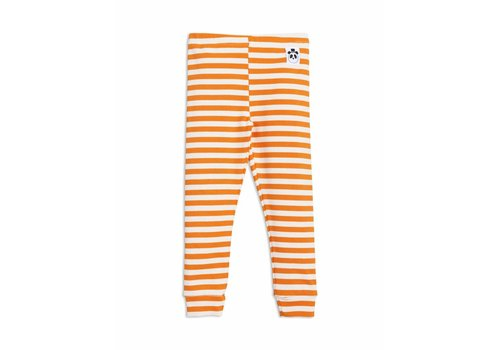 Mini Rodini Stripe rib leggings orange
