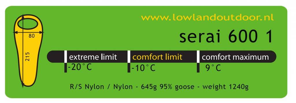 Lowland Outdoor Lowland -  Serai 600 1  - Mummymodel Slaapzak - <185 cm - 1240gr -10°C.