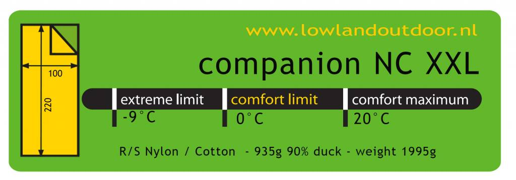 Lowland Outdoor LOWLAND OUTDOOR® Companion NC - Extra wide - 1995g - 220x100cm - 0°C