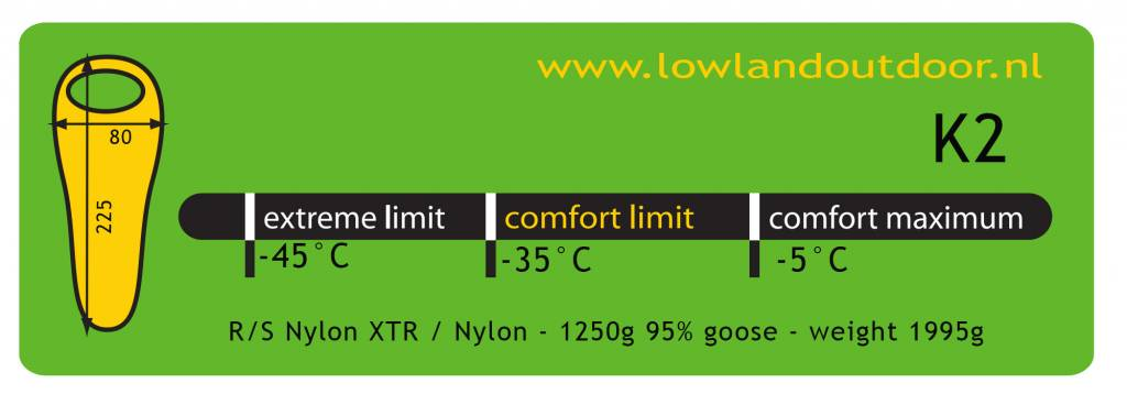 Lowland Outdoor Lowland K2 Lime  - 1995gr - minus 35°C