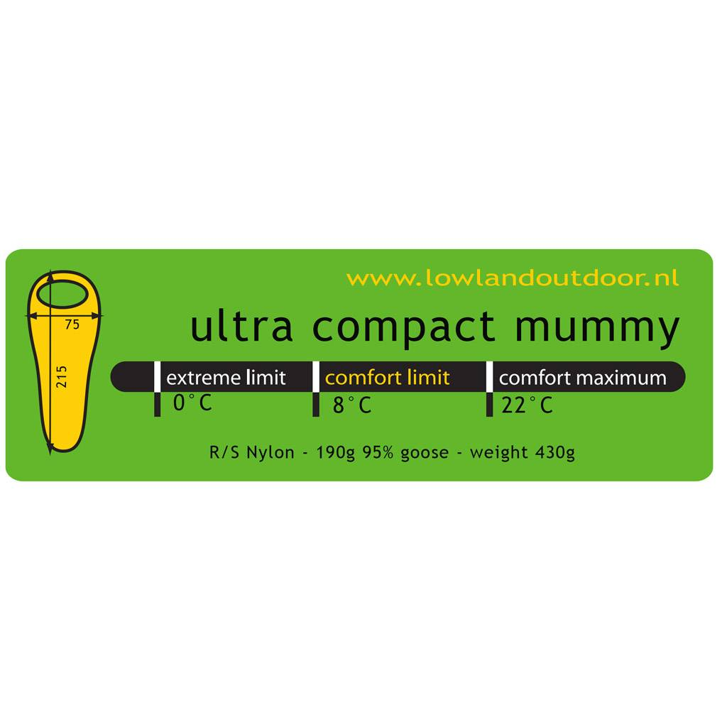 Lowland Outdoor Lowland Ultra compact mummy - 430 gr +8 °C.