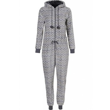 Rebelle Super 'trendy zigzags' all in one fleece onesie with hood and pom poms