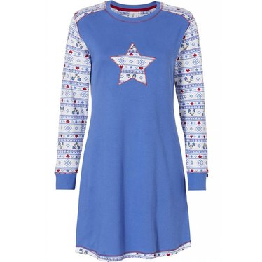 Rebelle 'Be a Star, sleepy bear & snowflake hearts' long sleeved royal blue and ivory patterned nightdress