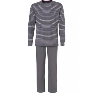 Pastunette for Men long sleeved dark grey striped cotton pyjama with long pants