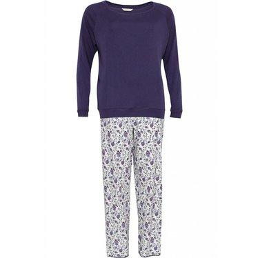 Cyberjammies pretty purple cotton-modal floral pyjama set with long sleeve knit top