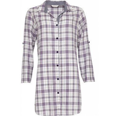 Cyberjammies pretty purple-lilac cotton check nightshirt with full buttons