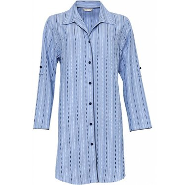 Cyberjammies Blauw gestreept katoenen doorknoop nachthemd