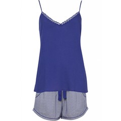 Cyberjammies Connie purple print shorts & indigo blue modal cami set