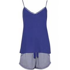 Cyberjammies Paars print shorts met indigo blauwe spaghetti top 'Connie'