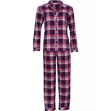 Cyberjammies burgandy pink checked print, 'full button cotton-lyocell pyjama set