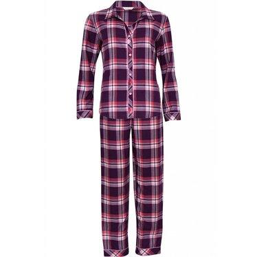 Cyberjammies burgandy pink checked print, 'full button cotton-lyocell pyjama set