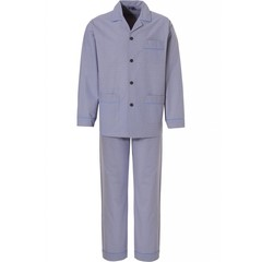 Robson men's woven cotton full button beige blue pyjama