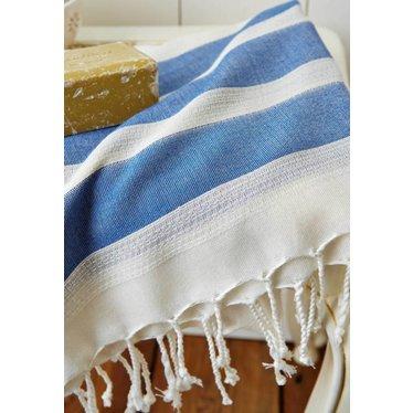 Katoenen hamamdoek, blauw en creme met handgemaakte kwastjes