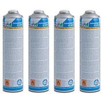 4x Universal gas cylinders, threaded connection, 600 ml