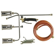 Triple gas weed burner set, with 3 torch heads, 5 meter connection hose and key set