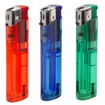 3x Refillable lighters with Piezo ignition, assorted colours